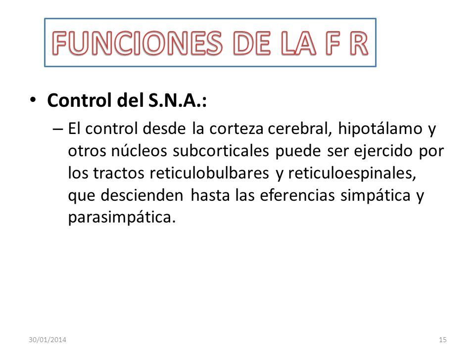 Control del S.N.A.: – El control desde la corteza cerebral, hipotálamo y otros núcleos subcorticales puede ser ejercido por los tractos reticulobulbar