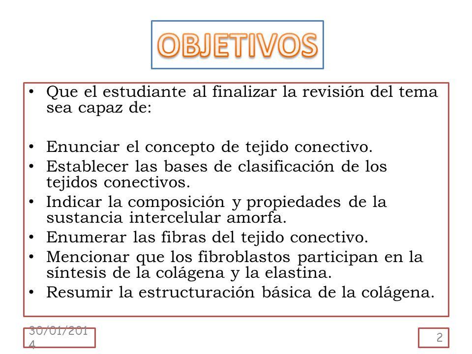 Que el estudiante al finalizar la revisión del tema sea capaz de: Enunciar el concepto de tejido conectivo. Establecer las bases de clasificación de l