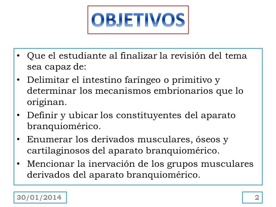 Que el estudiante al finalizar la revisión del tema sea capaz de: Delimitar el intestino faríngeo o primitivo y determinar los mecanismos embrionarios