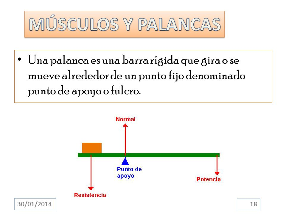 Una palanca es una barra rígida que gira o se mueve alrededor de un punto fijo denominado punto de apoyo o fulcro. 30/01/2014 18