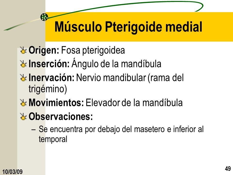 10/03/09 49 Músculo Pterigoide medial Origen: Fosa pterigoidea Inserción: Ángulo de la mandíbula Inervación: Nervio mandibular (rama del trigémino) Mo