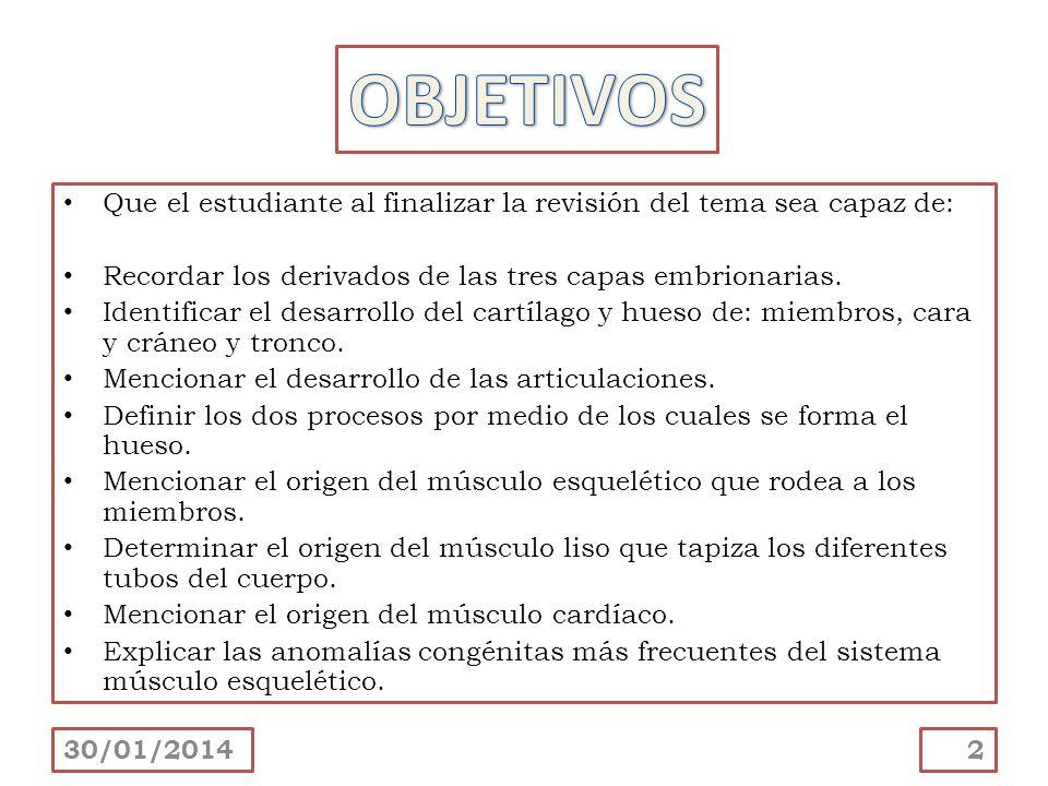 Que el estudiante al finalizar la revisión del tema sea capaz de: Recordar los derivados de las tres capas embrionarias. Identificar el desarrollo del