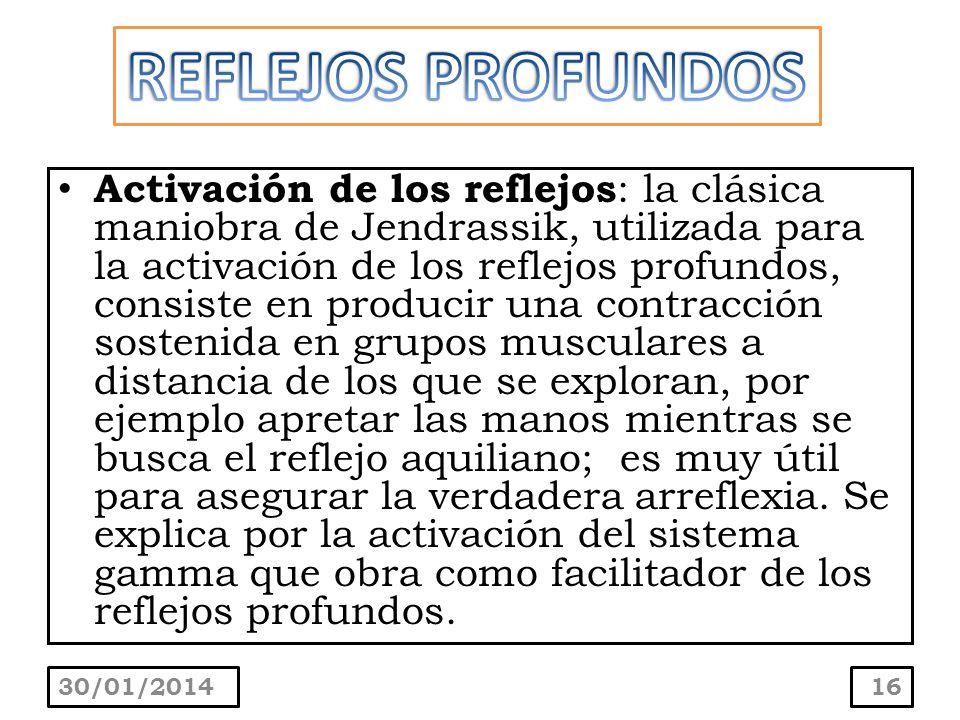 Activación de los reflejos : la clásica maniobra de Jendrassik, utilizada para la activación de los reflejos profundos, consiste en producir una contr