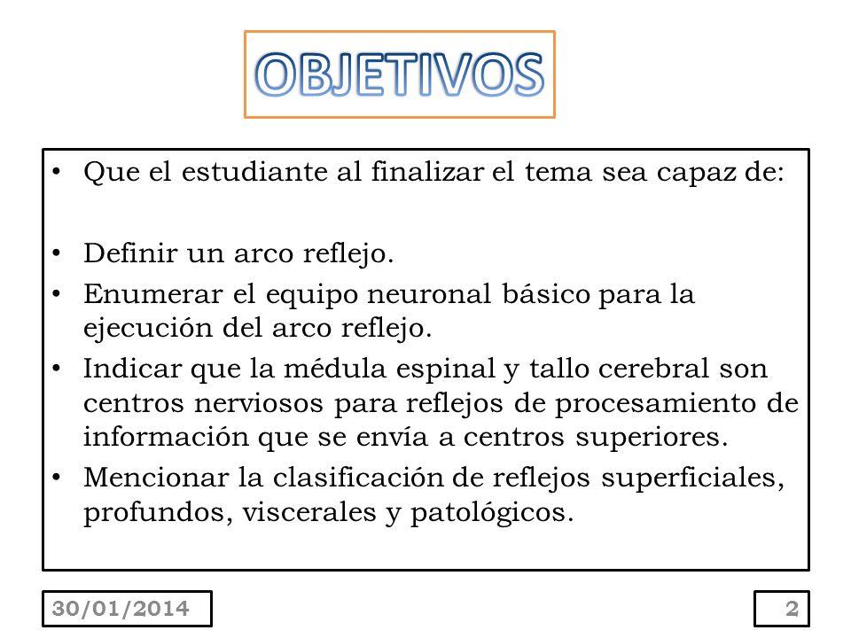 Que el estudiante al finalizar el tema sea capaz de: Definir un arco reflejo. Enumerar el equipo neuronal básico para la ejecución del arco reflejo. I