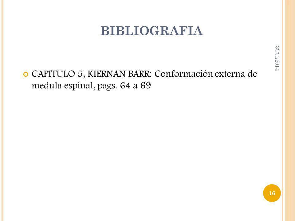 BIBLIOGRAFIA CAPITULO 5, KIERNAN BARR: Conformación externa de medula espinal, pags. 64 a 69 30/01/2014 16