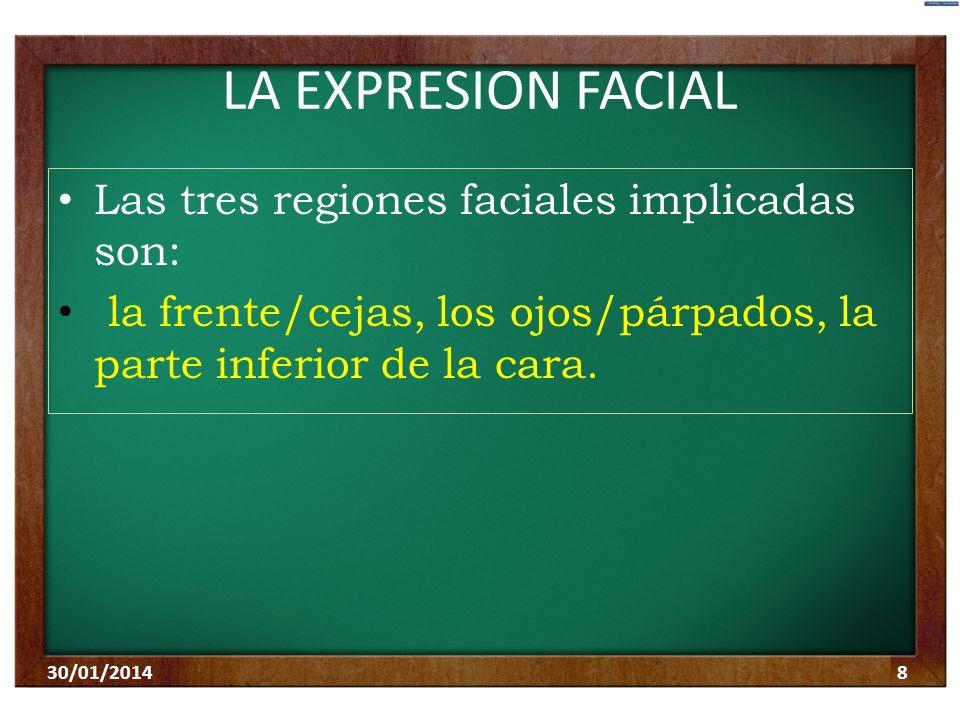 LA EXPRESION FACIAL Las tres regiones faciales implicadas son: la frente/cejas, los ojos/párpados, la parte inferior de la cara. 30/01/20148