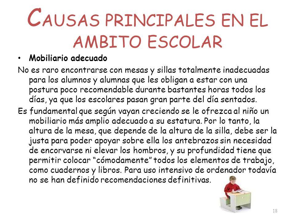 C AUSAS PRINCIPALES EN EL AMBITO ESCOLAR Mobiliario adecuado No es raro encontrarse con mesas y sillas totalmente inadecuadas para los alumnos y alumn