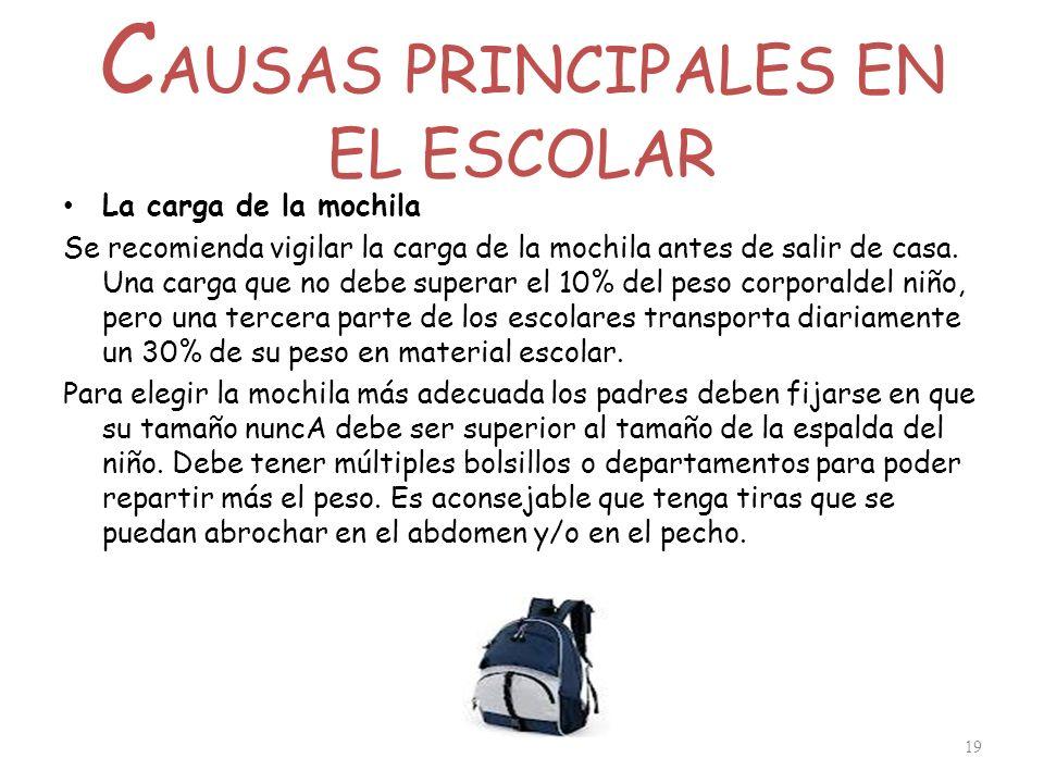 C AUSAS PRINCIPALES EN EL ESCOLAR La carga de la mochila Se recomienda vigilar la carga de la mochila antes de salir de casa. Una carga que no debe su