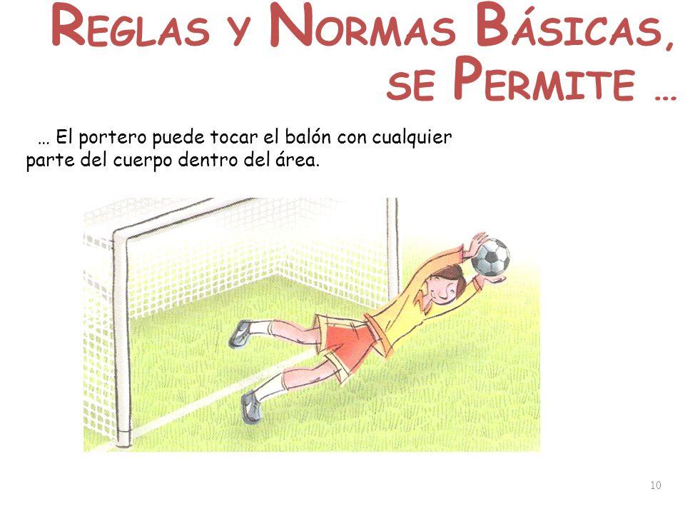 10 … El portero puede tocar el balón con cualquier parte del cuerpo dentro del área. R EGLAS Y N ORMAS B ÁSICAS, SE P ERMITE …