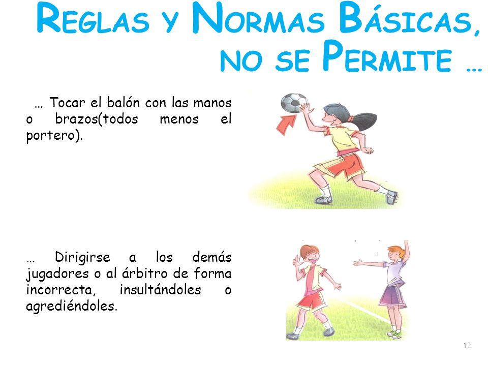 12 … Tocar el balón con las manos o brazos(todos menos el portero). … Dirigirse a los demás jugadores o al árbitro de forma incorrecta, insultándoles