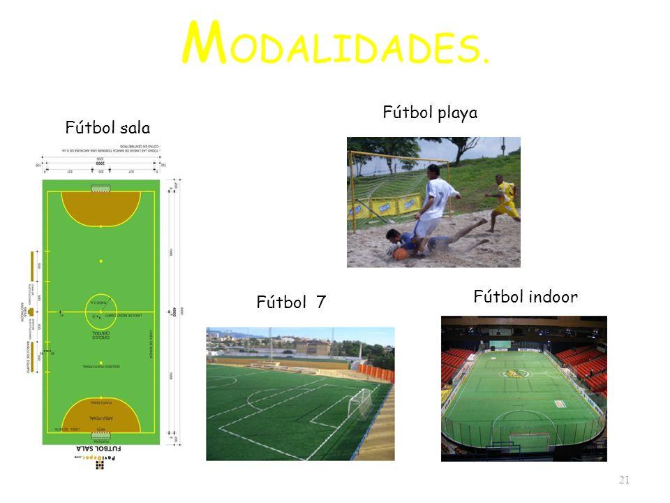 M ODALIDADES. 21 Fútbol sala Fútbol 7 Fútbol playa Fútbol indoor