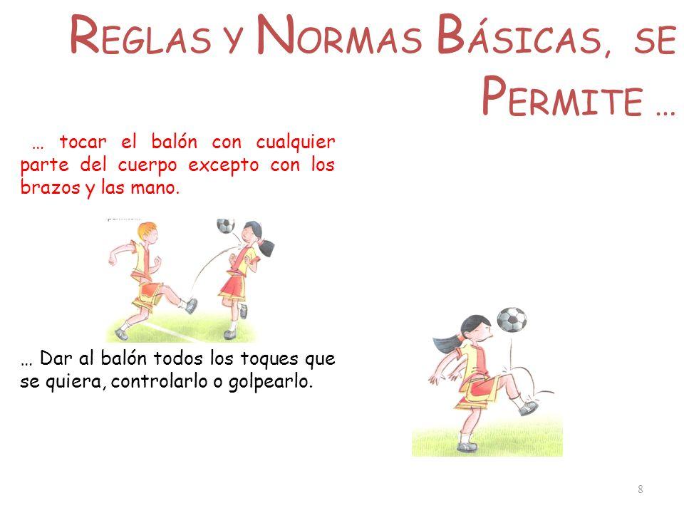 R EGLAS Y N ORMAS B ÁSICAS, SE P ERMITE … 8 … tocar el balón con cualquier parte del cuerpo excepto con los brazos y las mano. … Dar al balón todos lo
