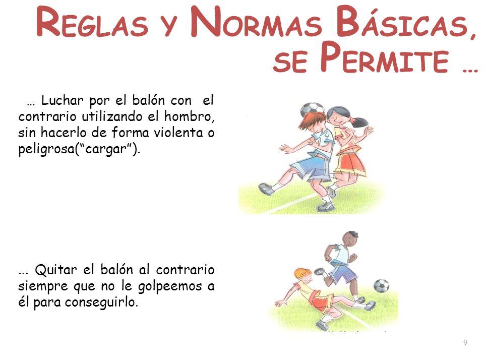 9 … Luchar por el balón con el contrario utilizando el hombro, sin hacerlo de forma violenta o peligrosa(cargar).... Quitar el balón al contrario siem