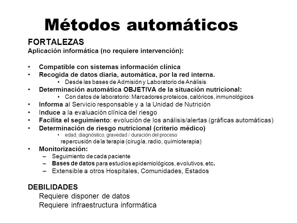 Métodos automáticos FORTALEZAS Aplicación informática (no requiere intervención): Compatible con sistemas información clínica Recogida de datos diaria