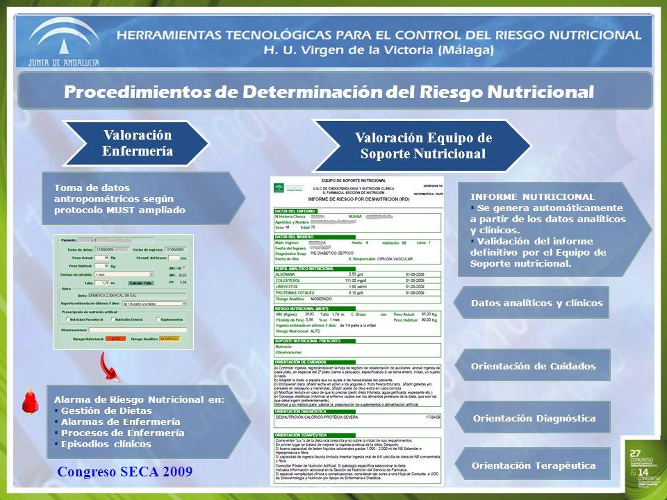 Procedimientos de Determinación del Riesgo Nutricional Valoración Enfermería INFORME NUTRICIONAL Se genera automáticamente a partir de los datos analí