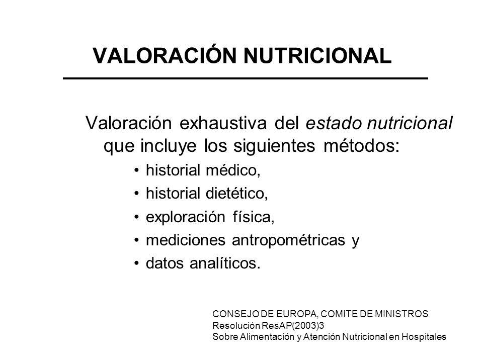 VALORACIÓN NUTRICIONAL Valoración exhaustiva del estado nutricional que incluye los siguientes métodos: historial médico, historial dietético, explora