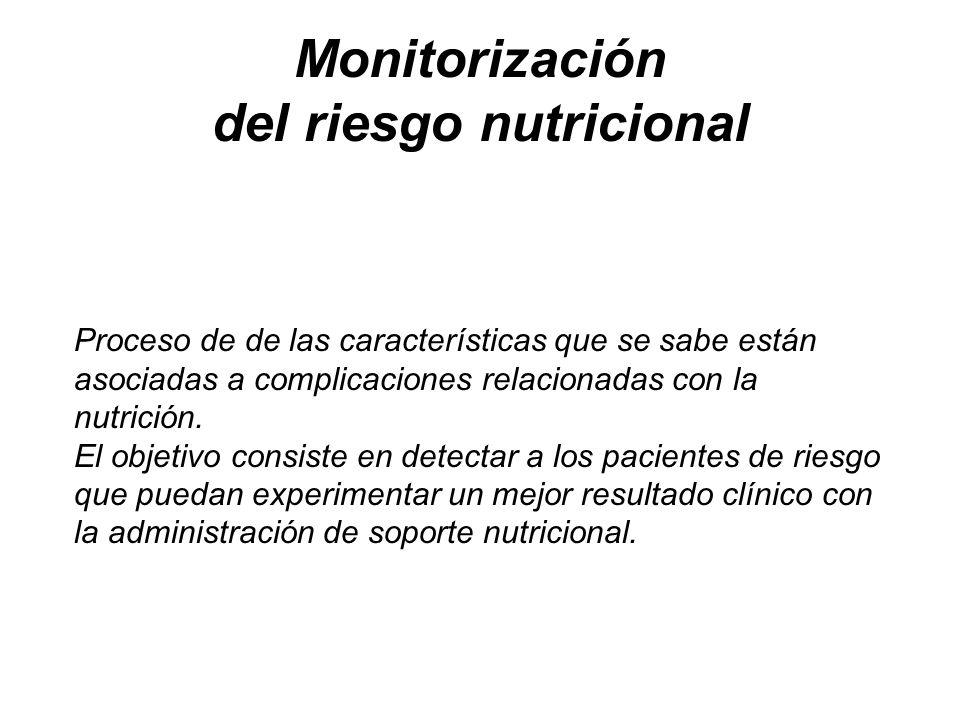 Monitorización del riesgo nutricional Proceso de de las características que se sabe están asociadas a complicaciones relacionadas con la nutrición. El