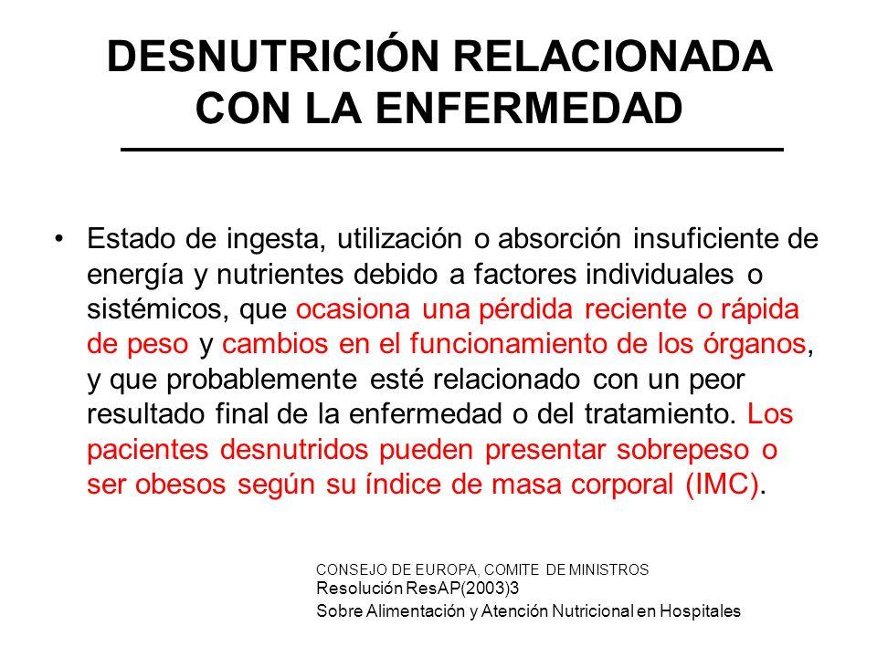 DESNUTRICIÓN RELACIONADA CON LA ENFERMEDAD Estado de ingesta, utilización o absorción insuficiente de energía y nutrientes debido a factores individua