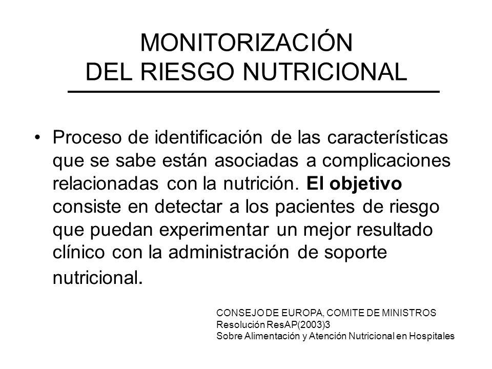 MONITORIZACIÓN DEL RIESGO NUTRICIONAL Proceso de identificación de las características que se sabe están asociadas a complicaciones relacionadas con l