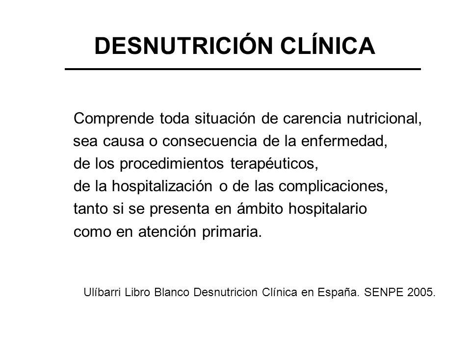 DESNUTRICIÓN CLÍNICA Comprende toda situación de carencia nutricional, sea causa o consecuencia de la enfermedad, de los procedimientos terapéuticos,