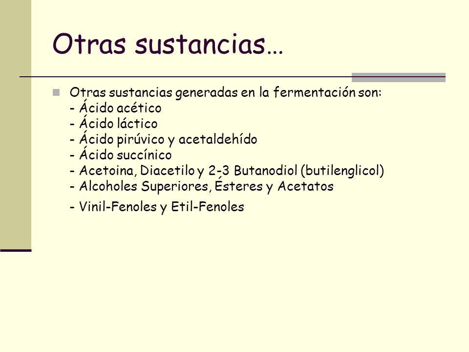 Otras sustancias… Otras sustancias generadas en la fermentación son: - Ácido acético - Ácido láctico - Ácido pirúvico y acetaldehído - Ácido succínico