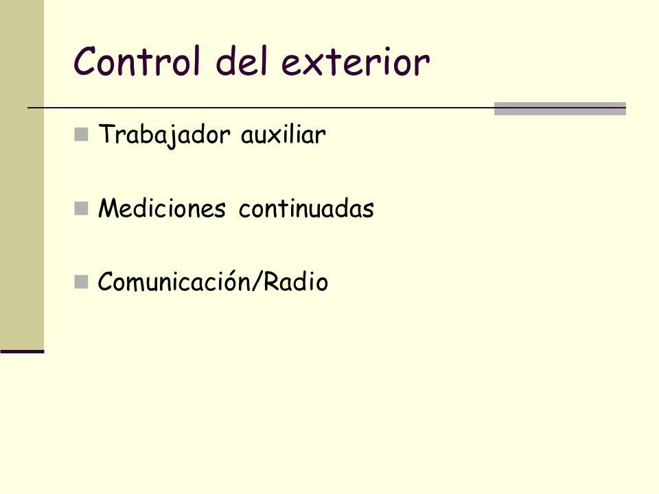 Control del exterior Trabajador auxiliar Mediciones continuadas Comunicación/Radio