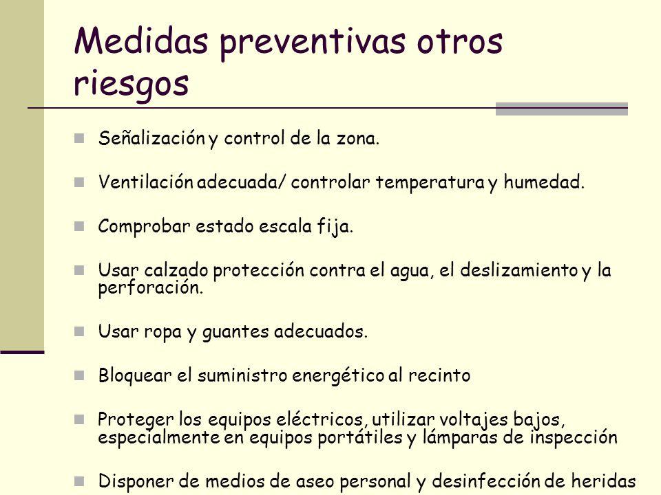Medidas preventivas otros riesgos Señalización y control de la zona. Ventilación adecuada/ controlar temperatura y humedad. Comprobar estado escala fi