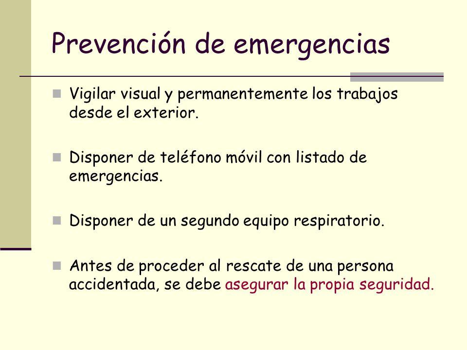 Prevención de emergencias Vigilar visual y permanentemente los trabajos desde el exterior. Disponer de teléfono móvil con listado de emergencias. Disp