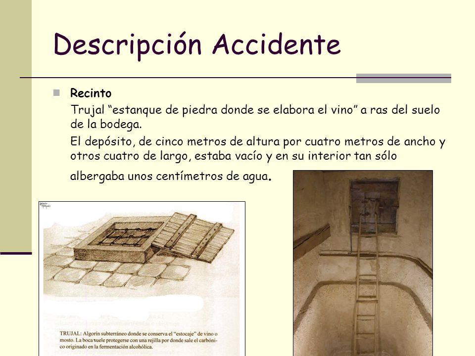 Descripción accidente El trabajador se encontraba en el interior del trujal realizando tareas de limpieza (llevaba botas de agua y una escoba) cuando cayo inconsciente.