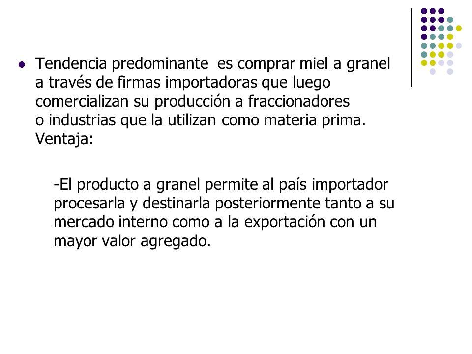 Tendencia predominante es comprar miel a granel a través de firmas importadoras que luego comercializan su producción a fraccionadores o industrias qu