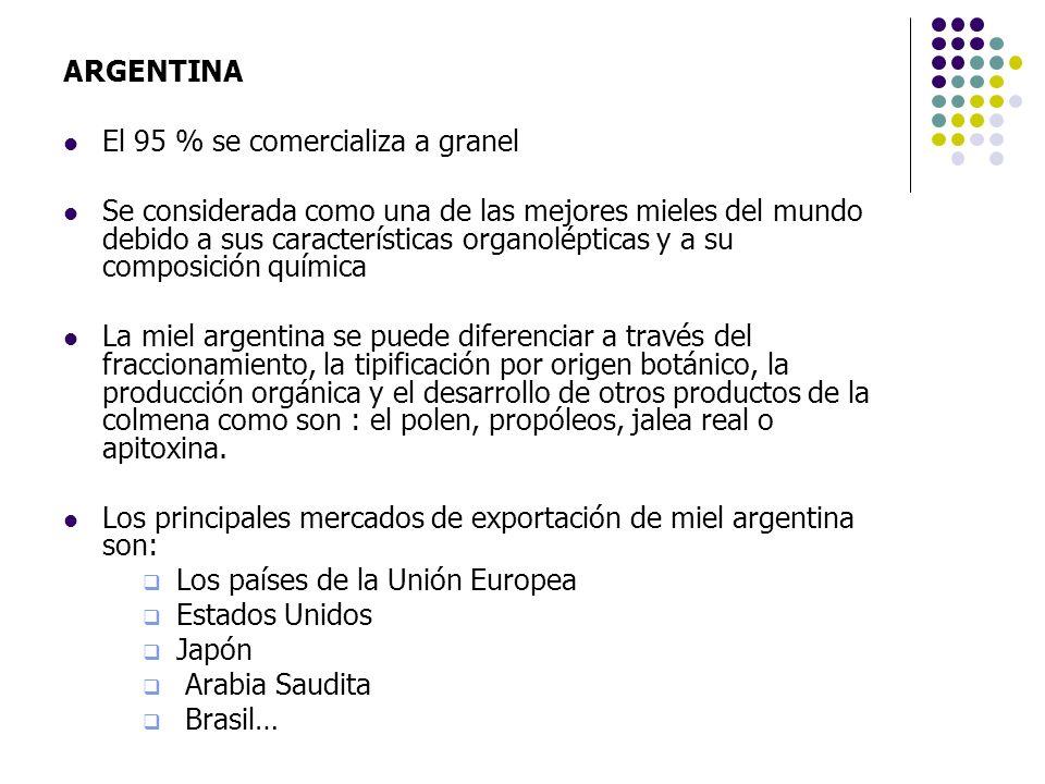 ARGENTINA El 95 % se comercializa a granel Se considerada como una de las mejores mieles del mundo debido a sus características organolépticas y a su