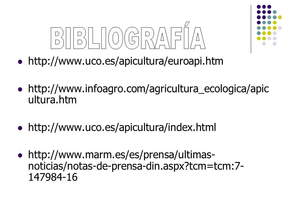 http://www.uco.es/apicultura/euroapi.htm http://www.infoagro.com/agricultura_ecologica/apic ultura.htm http://www.uco.es/apicultura/index.html http://