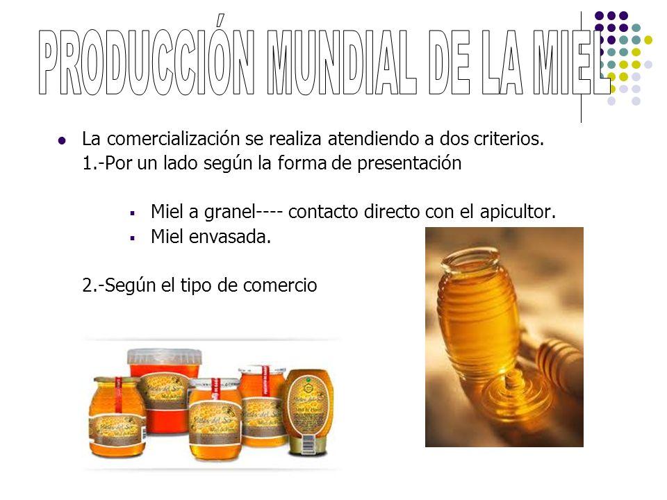 La comercialización se realiza atendiendo a dos criterios. 1.-Por un lado según la forma de presentación Miel a granel---- contacto directo con el api