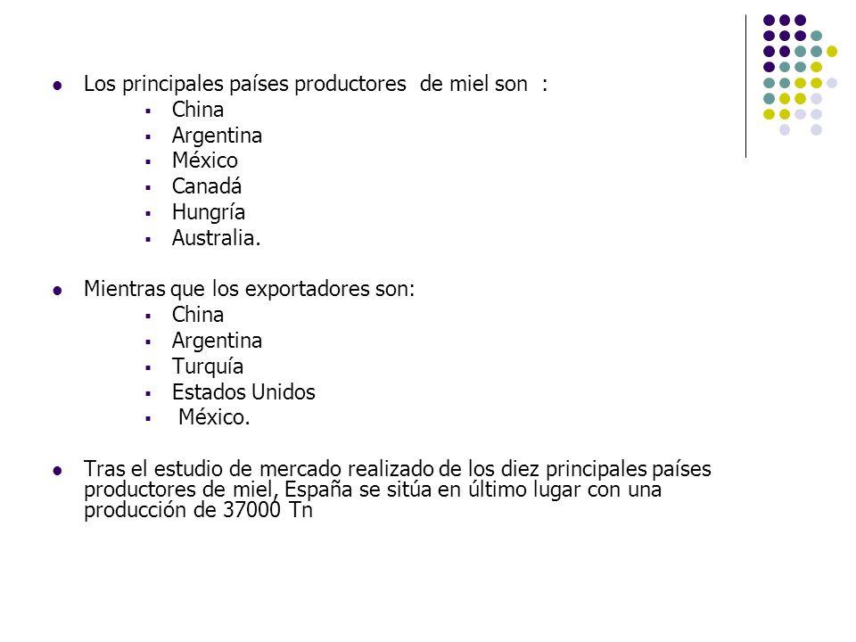 Los principales países productores de miel son : China Argentina México Canadá Hungría Australia. Mientras que los exportadores son: China Argentina T
