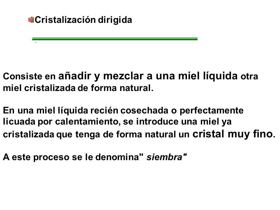 Cristalización dirigida. Consiste en añadir y mezclar a una miel líquida otra miel cristalizada de forma natural. En una miel líquida recién cosechada