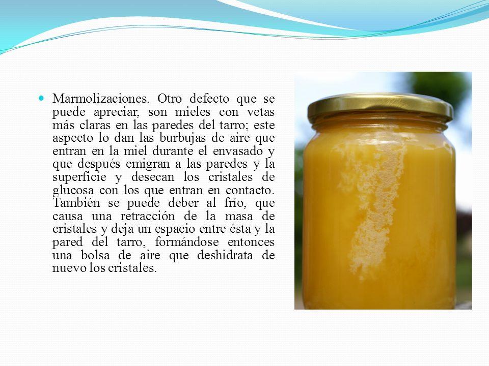 Marmolizaciones. Otro defecto que se puede apreciar, son mieles con vetas más claras en las paredes del tarro; este aspecto lo dan las burbujas de air