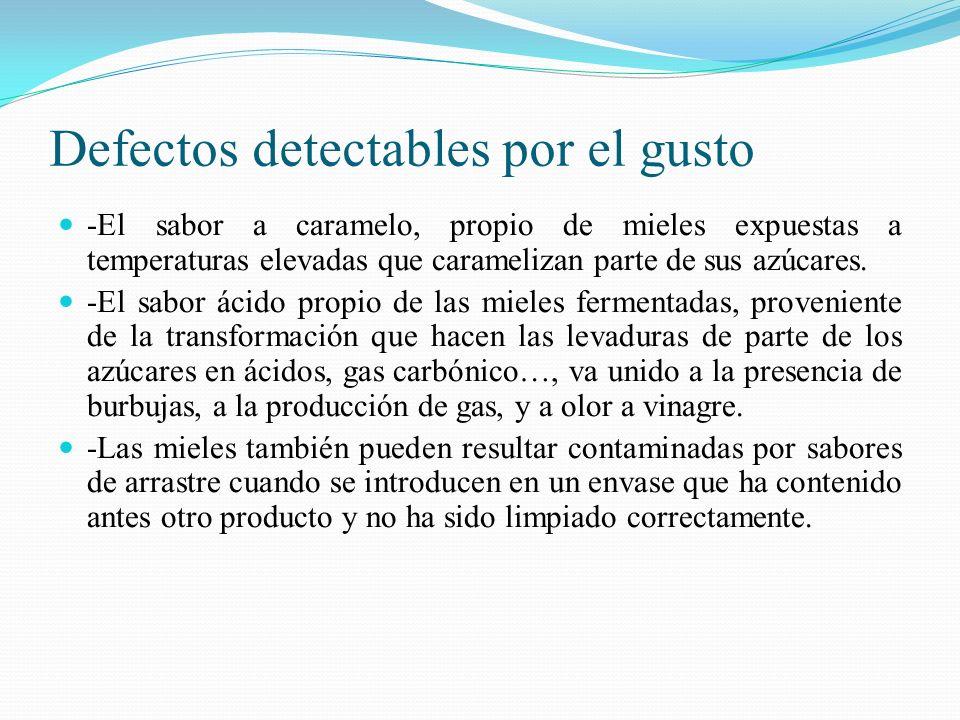 Defectos detectables por el gusto -El sabor a caramelo, propio de mieles expuestas a temperaturas elevadas que caramelizan parte de sus azúcares. -El