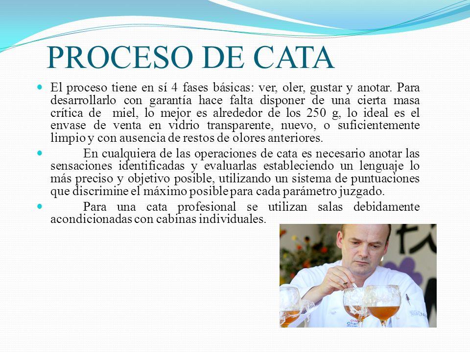 PROCESO DE CATA El proceso tiene en sí 4 fases básicas: ver, oler, gustar y anotar. Para desarrollarlo con garantía hace falta disponer de una cierta