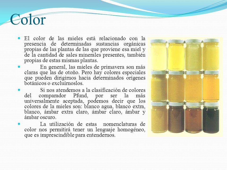 Color El color de las mieles está relacionado con la presencia de determinadas sustancias orgánicas propias de las plantas de las que proviene esa mie