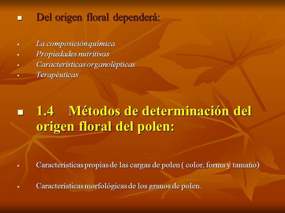 Del origen floral dependerá: Del origen floral dependerá: La composición química La composición química Propiedades nutritivas Propiedades nutritivas