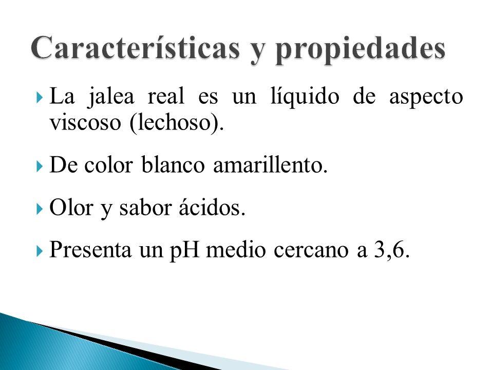 La jalea real es un líquido de aspecto viscoso (lechoso). De color blanco amarillento. Olor y sabor ácidos. Presenta un pH medio cercano a 3,6.