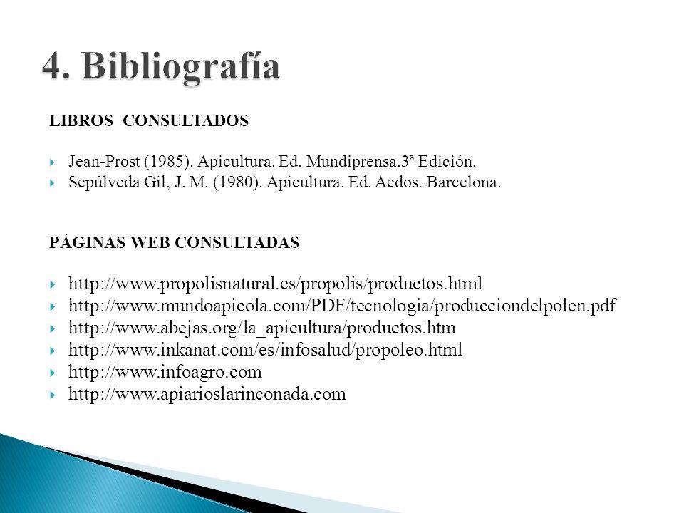 LIBROS CONSULTADOS Jean-Prost (1985). Apicultura. Ed. Mundiprensa.3ª Edición. Sepúlveda Gil, J. M. (1980). Apicultura. Ed. Aedos. Barcelona. PÁGINAS W
