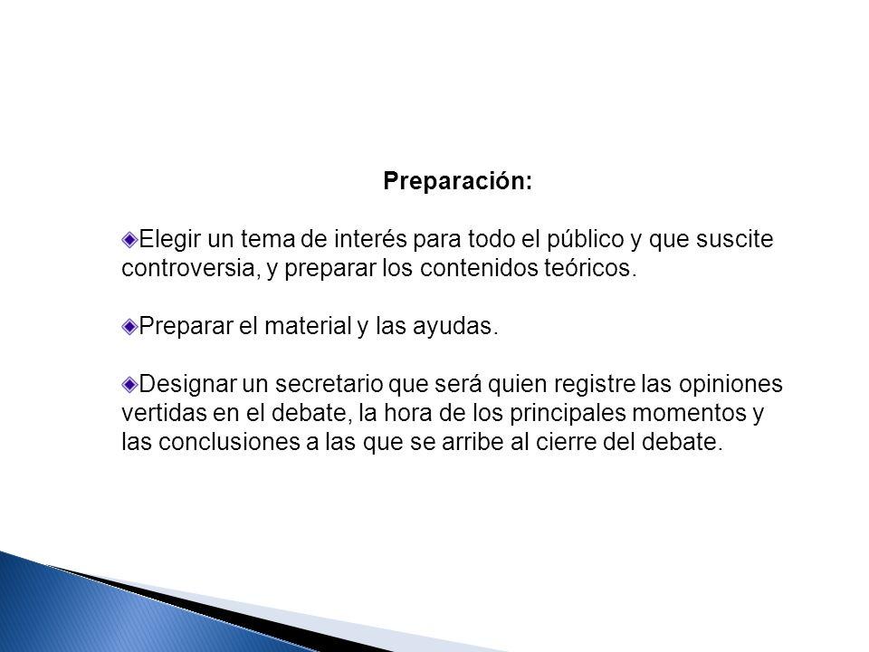 Preparación: Elegir un tema de interés para todo el público y que suscite controversia, y preparar los contenidos teóricos. Preparar el material y las