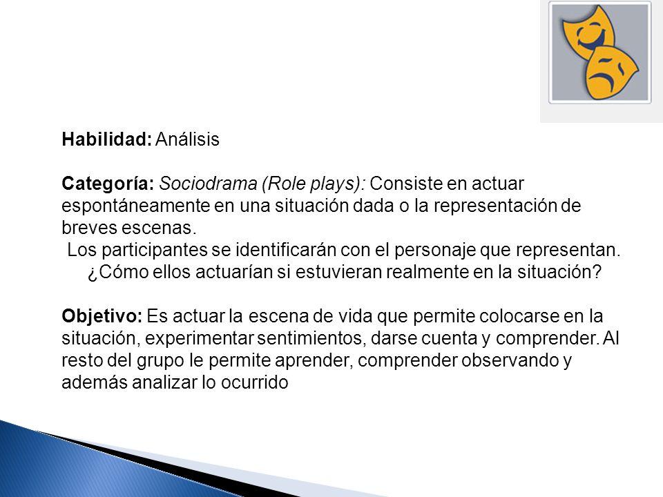Habilidad: Análisis Categoría: Sociodrama (Role plays): Consiste en actuar espontáneamente en una situación dada o la representación de breves escenas