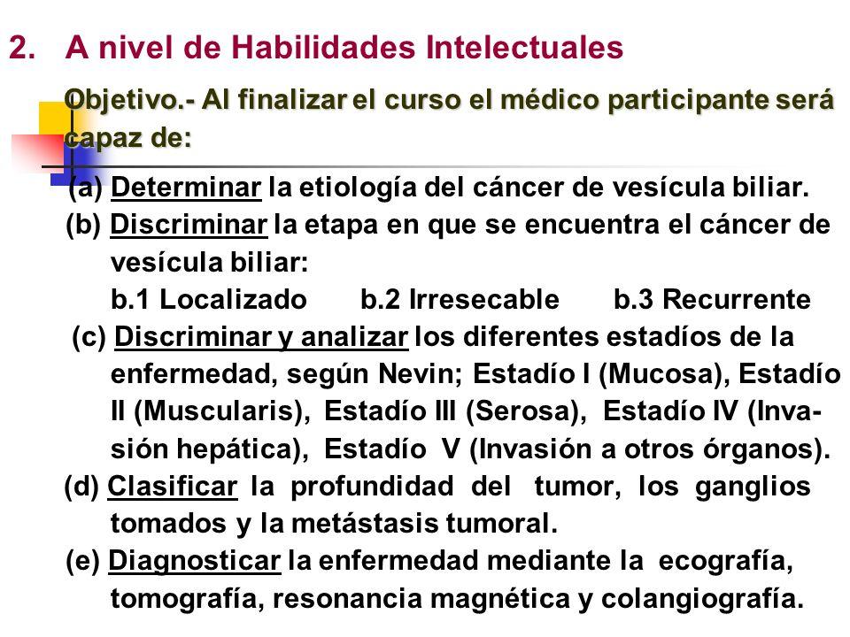 Tema: CÁNCER DE VESÍCULA BILIAR 1.A nivel de Información Verbal Objetivo.- Al finalizar el curso el médico participante será capaz de identificar los