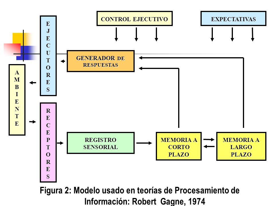 CONTROL EJECUTIVO EXPECTATIVAS GENERADOR DE RESPUESTAS EJECUTORES RECEPTORES AMBIENTE REGISTROSENSORIAL MEMORIA A LARGO PLAZO MEMORIA A CORTO PLAZO Figura 2: Modelo usado en teorías de Procesamiento de Información: Robert Gagne, 1974