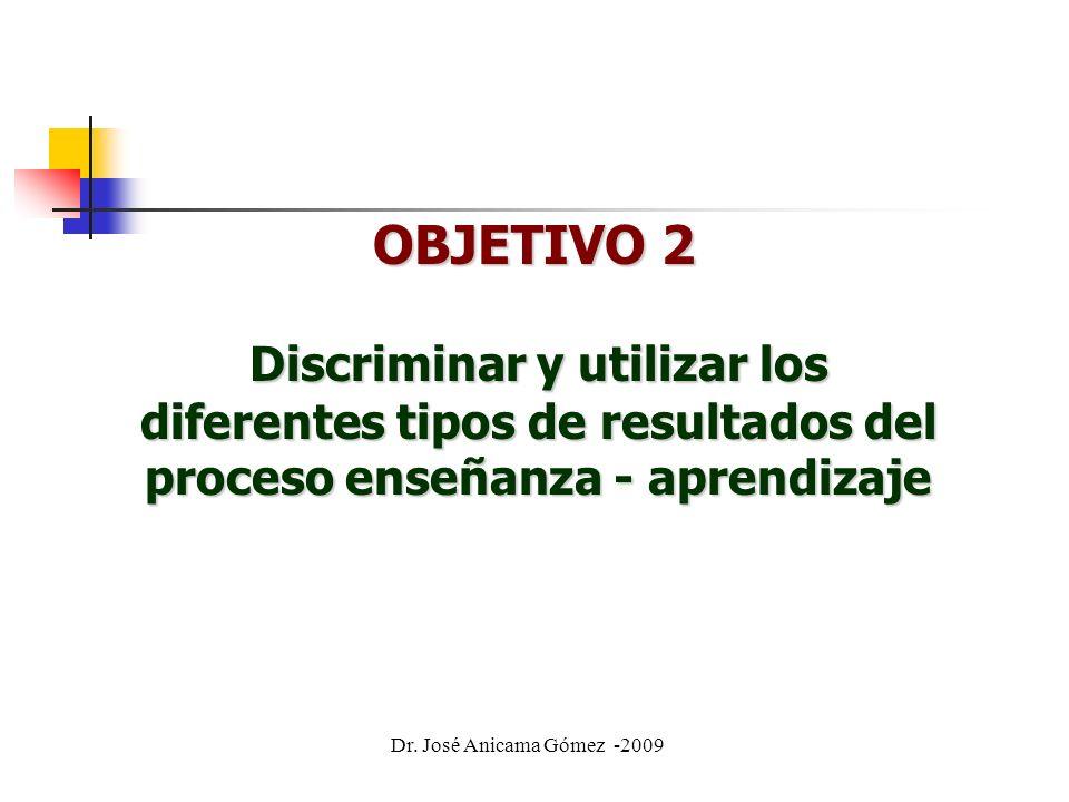 OBJETIVO 2 Discriminar y utilizar los diferentes tipos de resultados del proceso enseñanza - aprendizaje Dr.
