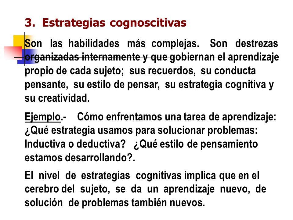 3.Estrategias cognoscitivas Son las habilidades más complejas.