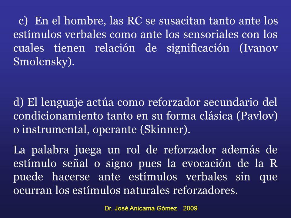 c) En el hombre, las RC se susacitan tanto ante los estímulos verbales como ante los sensoriales con los cuales tienen relación de significación (Ivan