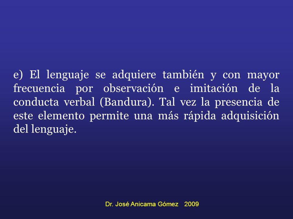 e) El lenguaje se adquiere también y con mayor frecuencia por observación e imitación de la conducta verbal (Bandura). Tal vez la presencia de este el